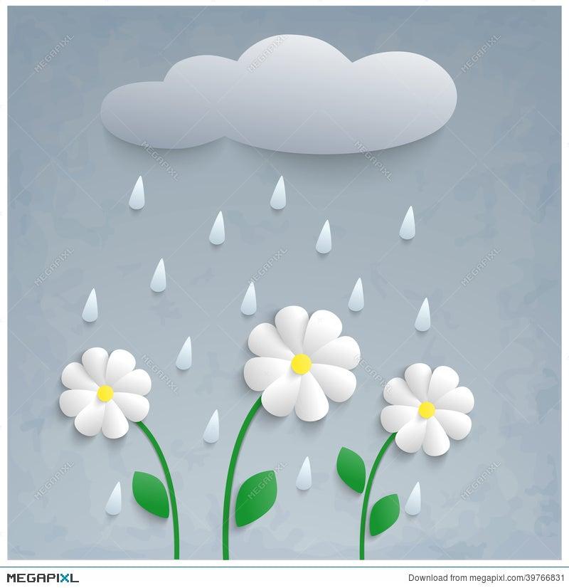 3D Paper Flowers, Rain And Cloud  Illustration 39766831