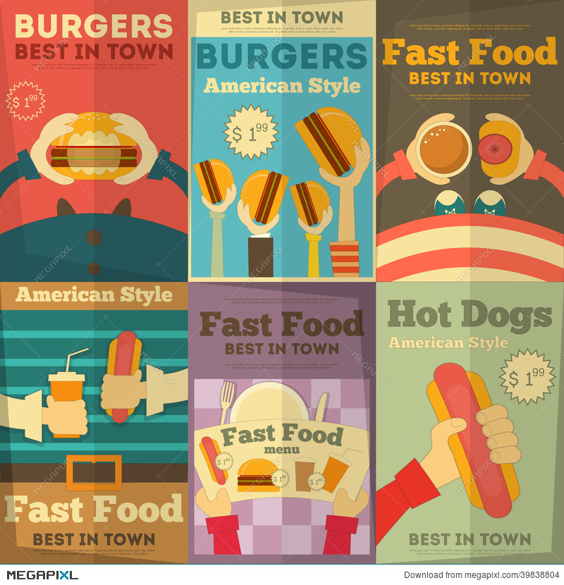 fast food posters collection illustration 39838804 megapixl