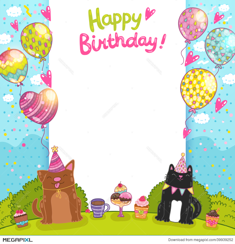 Happy Birthday Background With A Cat Dog Illustration 39939252