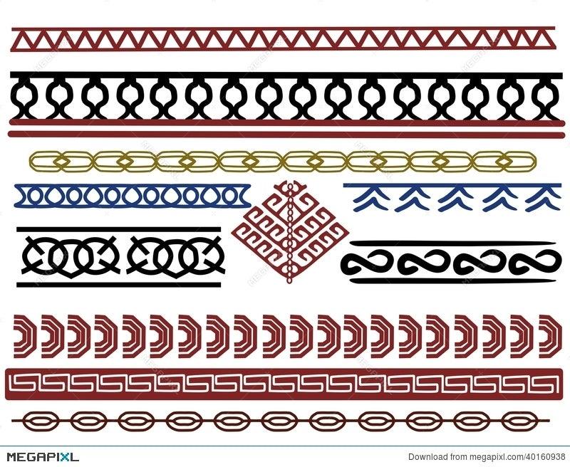 Set Of Viking Border Designs Illustration 40 Megapixl New Viking Patterns
