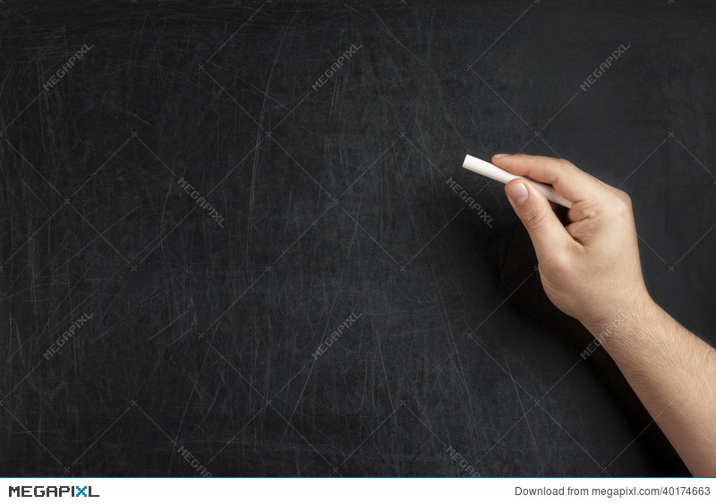 hand holding chalk blank blackboard stock photo 40174663 megapixl