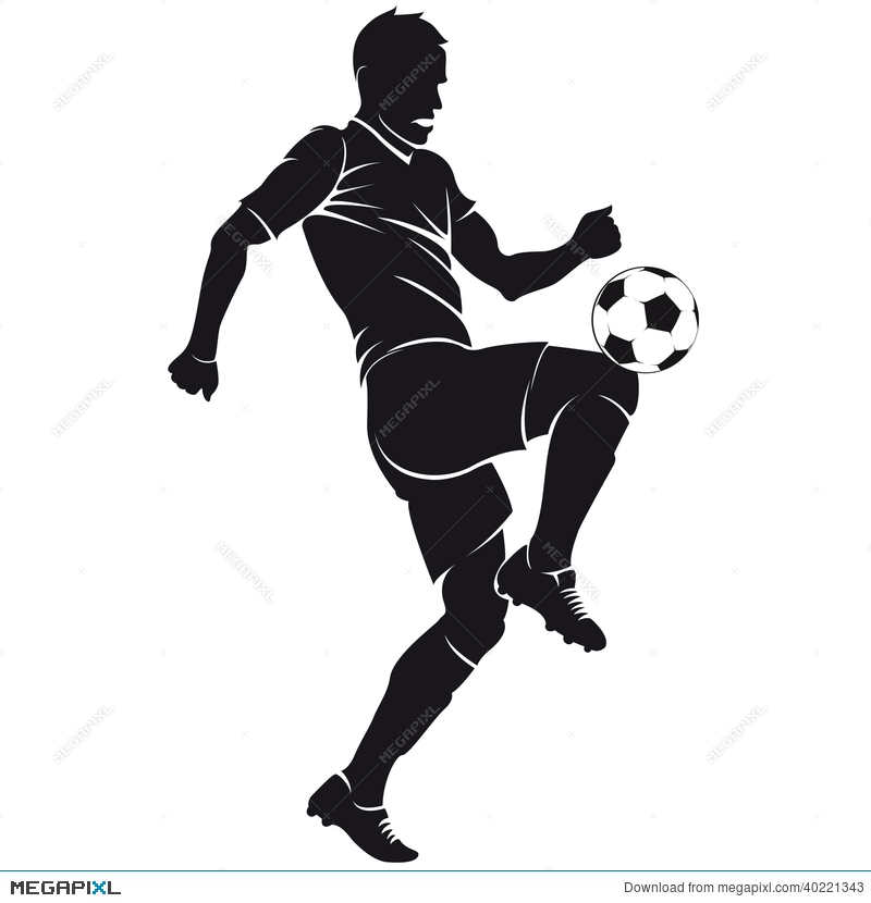 Vector Football Soccer Player Silhouette With Ba Illustration