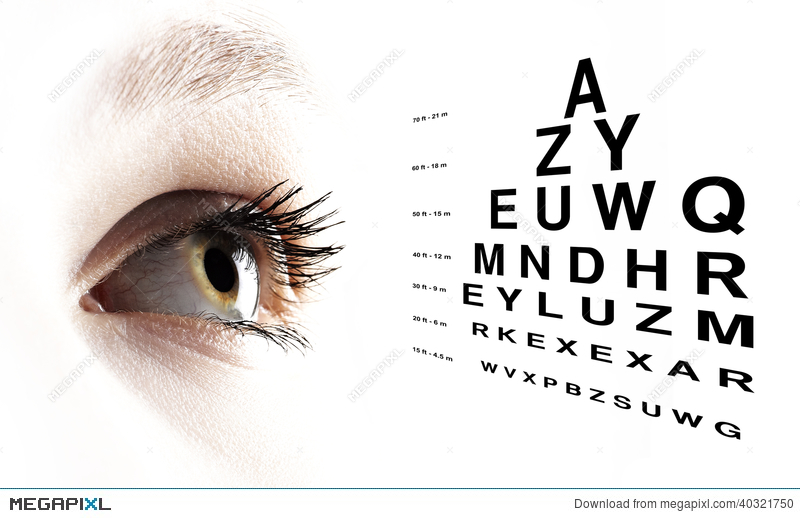 Eye With Test Vision Chart Close Up Stock Photo 40321750