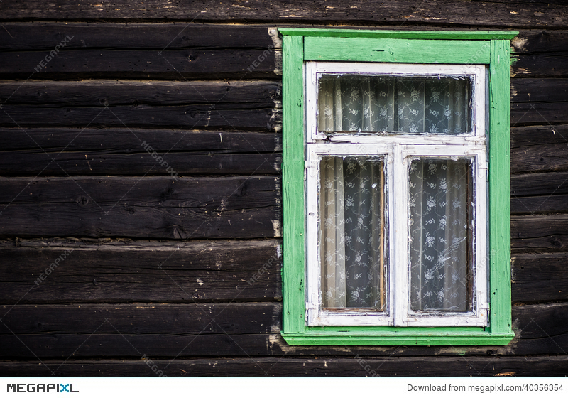 Rustic Green Painted Wood Frame Window Stock Photo 40356354 Megapixl
