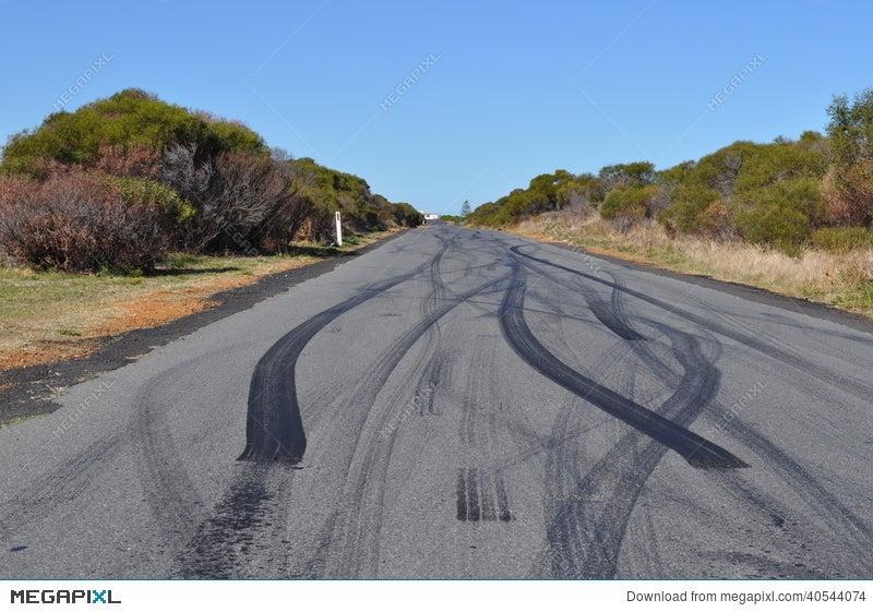 car tyre tire skid marks on urban asphalt road stock photo 40544074