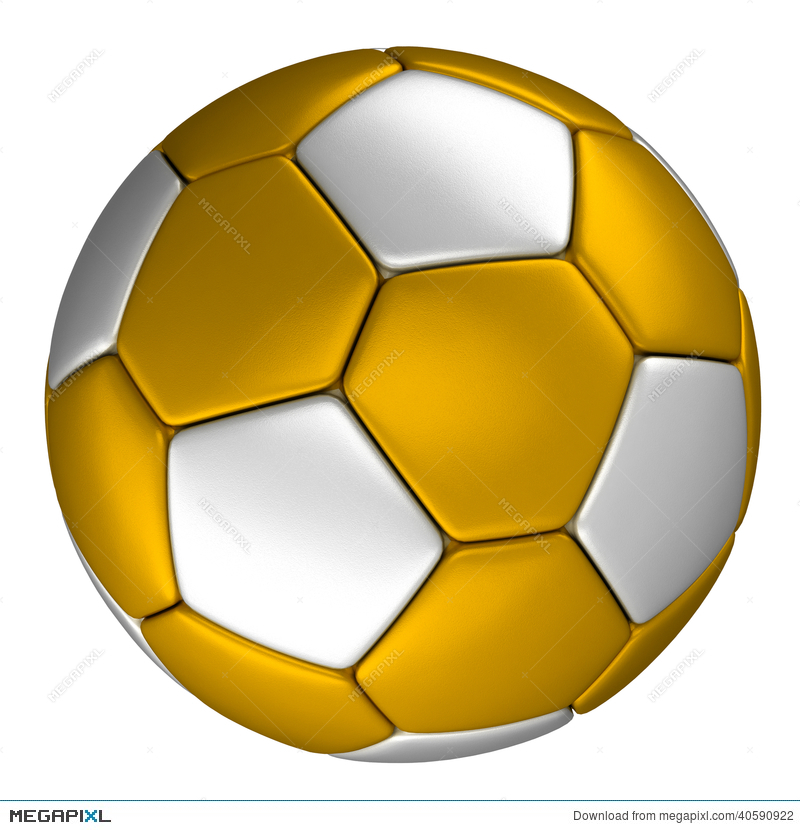 ffd183b59 Golden Soccer Ball With Silver Dots, Isolated On White Background ...