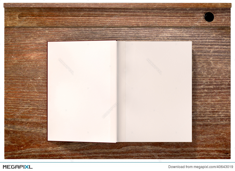 Vintage School Desk Top With Open Blank Book Stock Photo ...