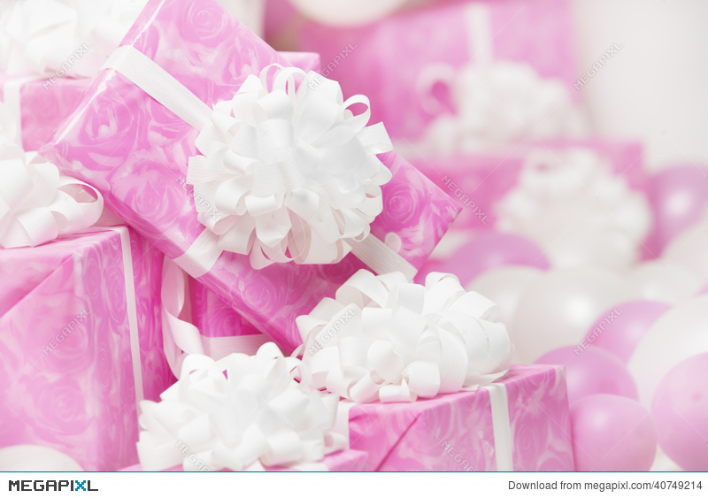 Presents Gift Bo Pink Background For Female Or Woman Birthday