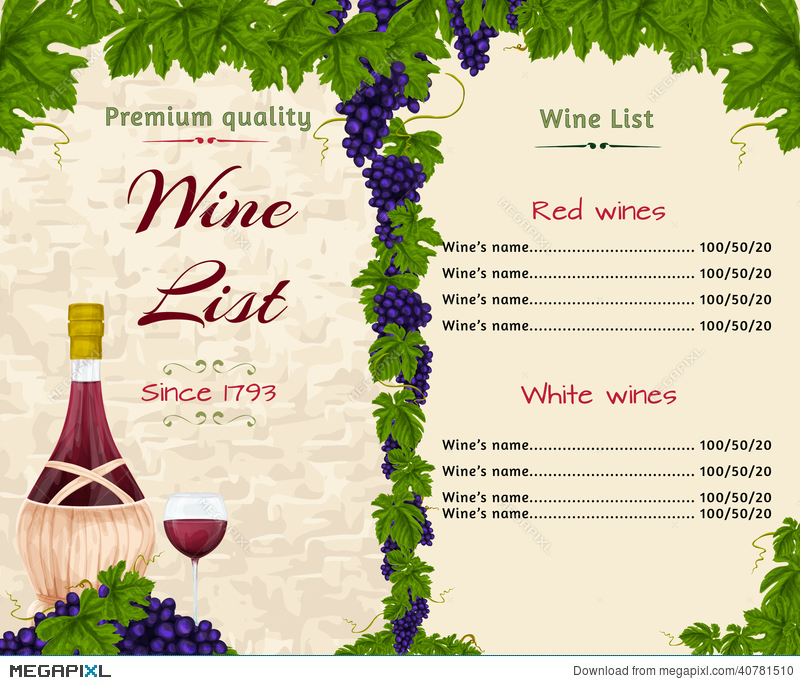 Wine List Template Illustration 40781510 Megapixl