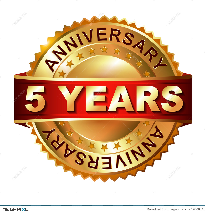 5 Years Anniversary Golden Label With Ribbon Illustration 40786644