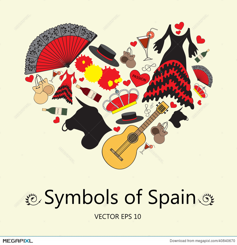 Stylized Heart With Symbols Of Spain Illustration For Use In Design