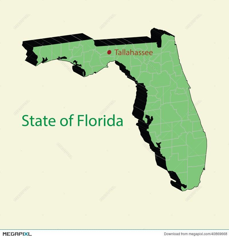 Usa Map Florida State.The 3d Map Of Florida State Usa Illustration 40869668 Megapixl