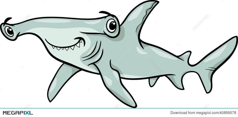 hammerhead shark cartoon illustration illustration 40889578 megapixl rh megapixl com great hammerhead shark clipart great hammerhead shark clipart