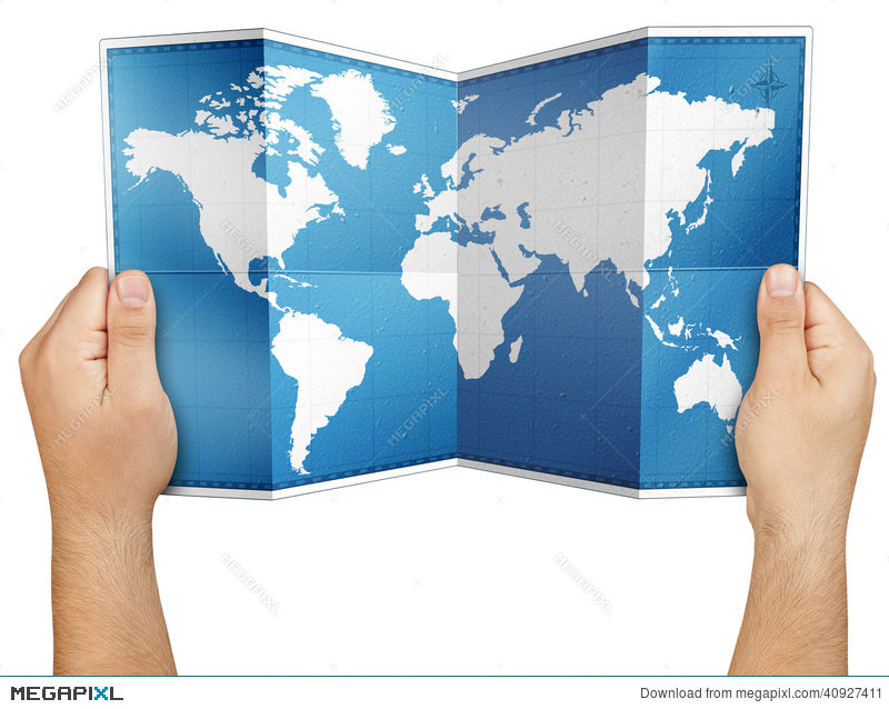 Hands holding open folded world map isolated stock photo 40927411 hands holding open folded world map isolated gumiabroncs Image collections