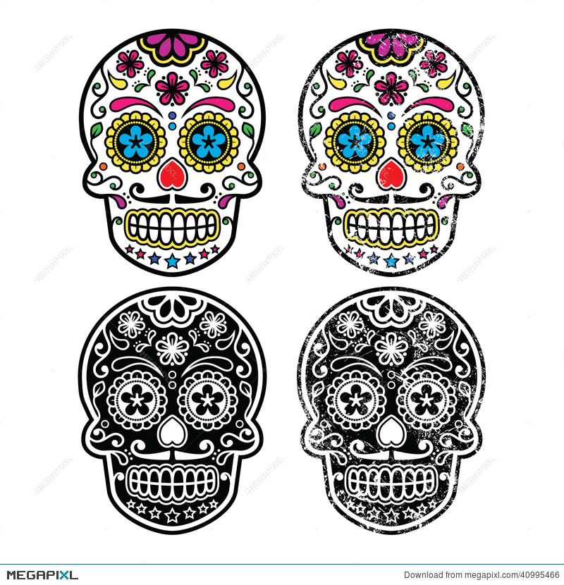 Mexican Retro Sugar Skull, Dia De Los Muertos Icons Set Illustration ...