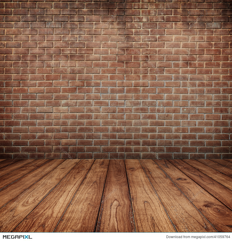 concrete brick walls and wood floor for text and background stock