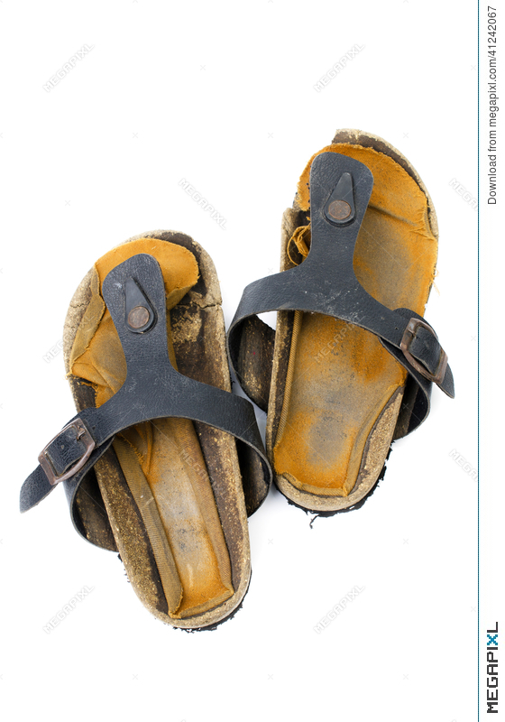 fd696a708946 Old Sandals Over White Stock Photo 41242067 - Megapixl