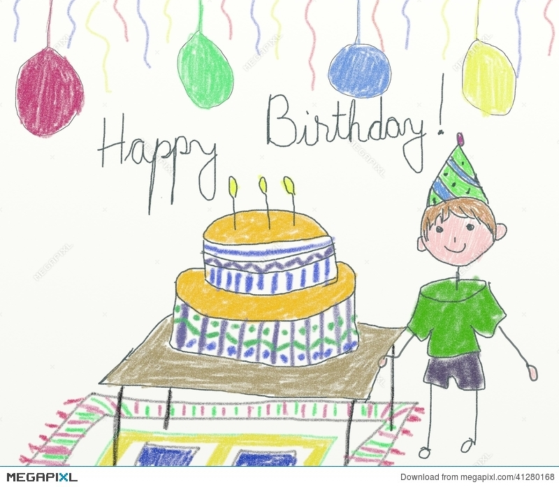 Happy birthday card children drawing illustration 41280168 megapixl happy birthday card children drawing bookmarktalkfo Gallery