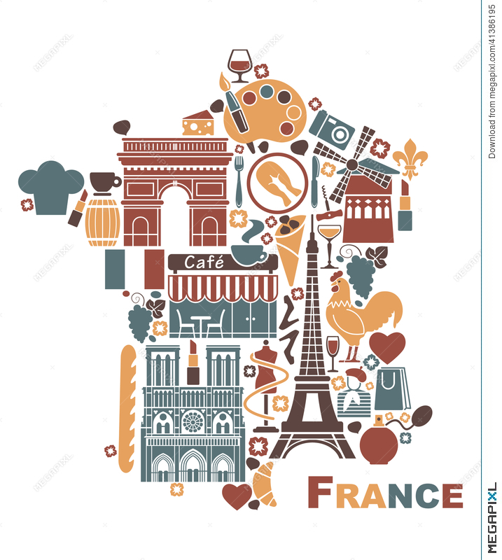 Symbols Of France In The Form Of A Map Illustration 41386195 Megapixl