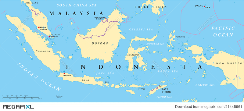 Malaysia And Indonesia Political Map Illustration 41445961 Megapixl