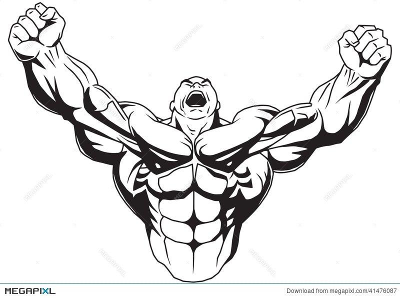 Bodybuilder Raises Muscular Arms Illustration 41476087