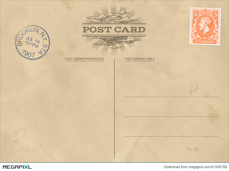 Vector Vintage Postcard Template Illustration   Megapixl