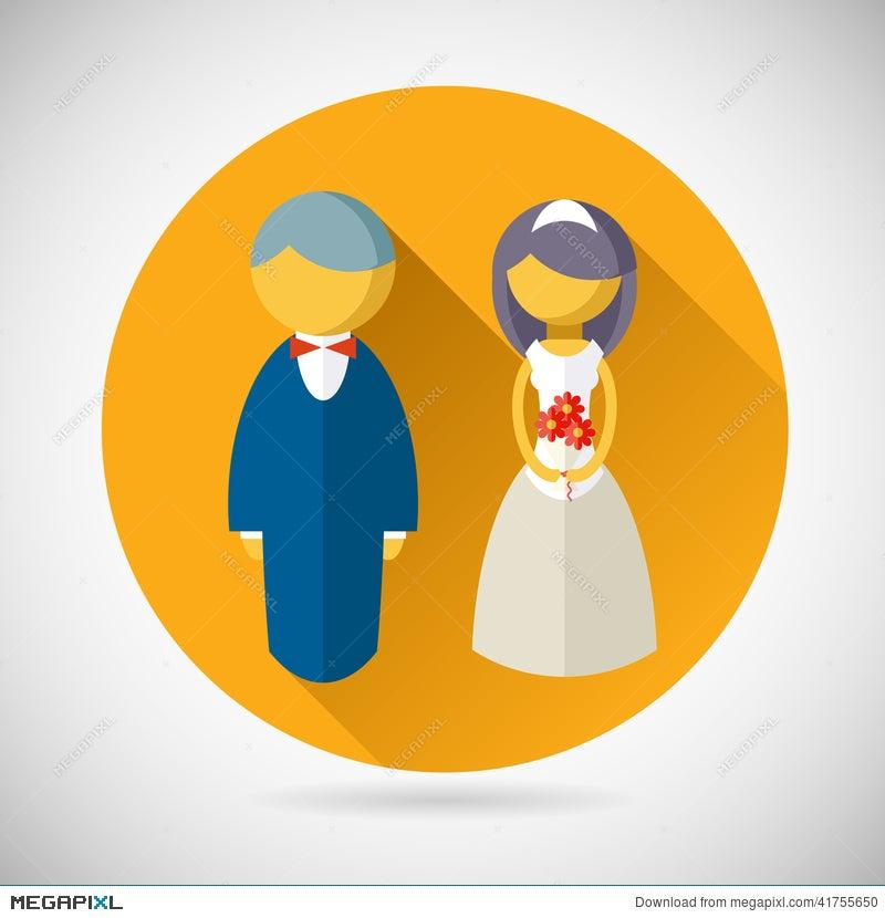 Wedding Symbol Bride And Groom Marriage Icon Illustration 41755650