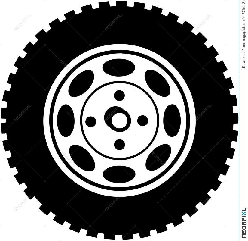 Tire For Car Or Truck Cartoon Vector Clipart Illustration 41776412