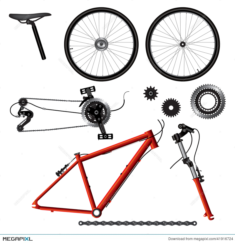 Bicycle Parts Illustration 41916724 - Megapixl