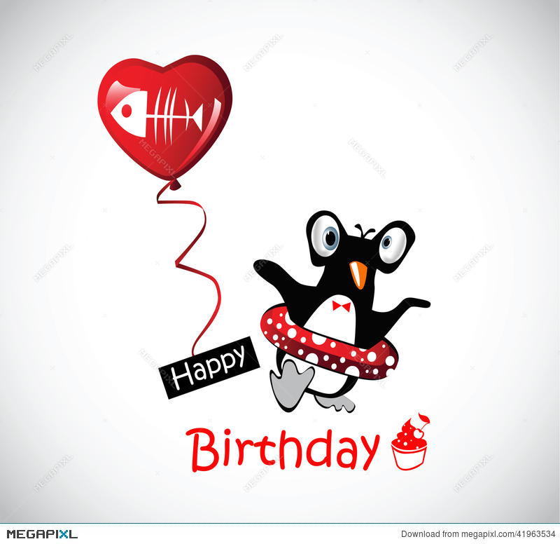 Happy Birthday Card Funny Penguins Illustration 41963534 Megapixl
