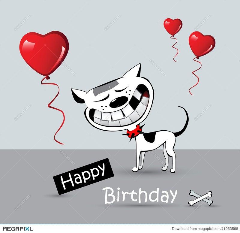 Happy Birthday Card Cat Dog Smile