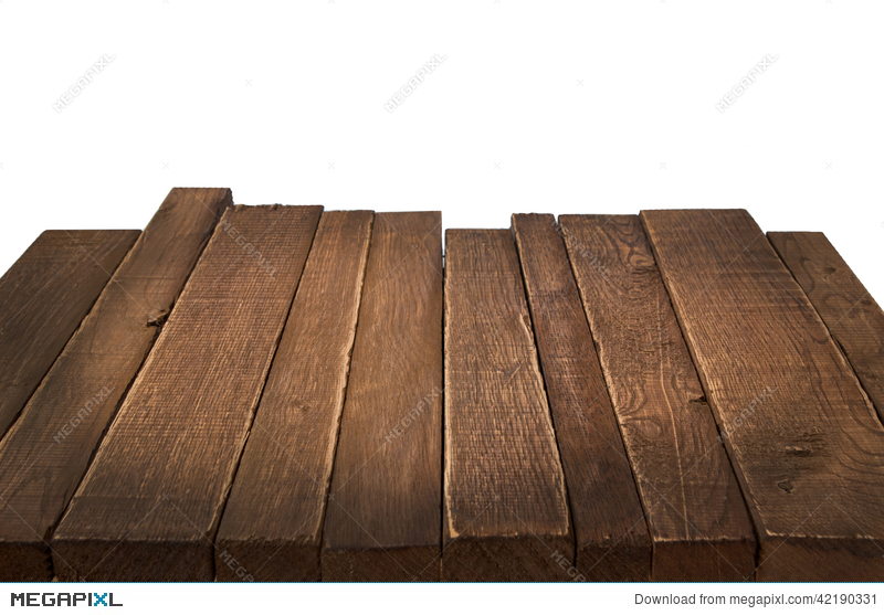 Wood Table In Perspective On White Background Stock Photo 42190331