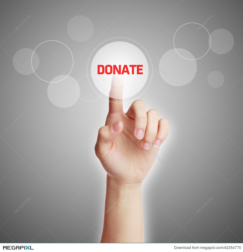 Hand Press Donate Button Stock Photo 42254770 - Megapixl
