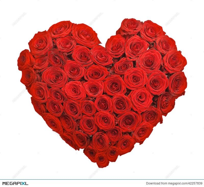 Red Rose Flower Bouquet Heart Shape Stock Photo 42257839 - Megapixl