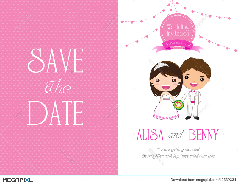 Wedding Invitation Template Card Cartoon Illustration