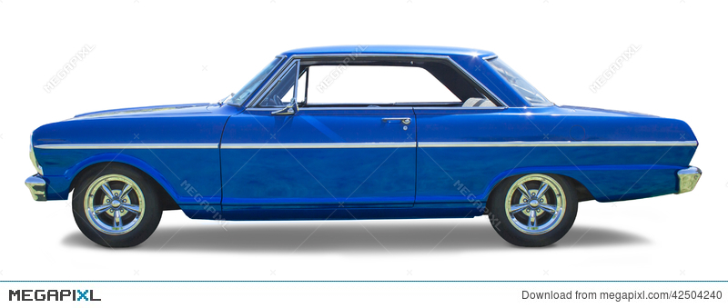 Sideview Of A Blue Muscle Car Stock Photo 42504240 Megapixl