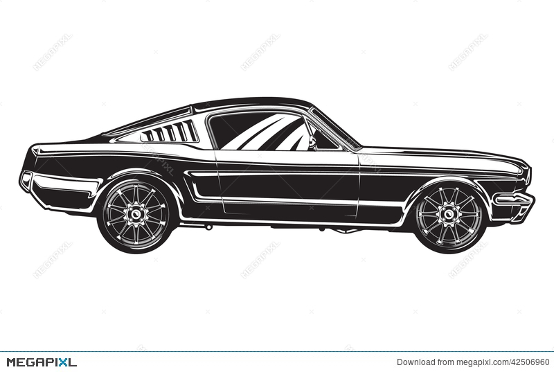 Sideview Of A Muscle Car Illustration 42506960 Megapixl