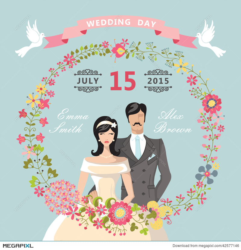 Cute Wedding Invitation Floral Wreath Cartoon Bride Groom
