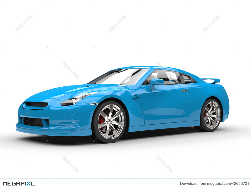 Merveilleux Bright Blue Sports Car On White Background