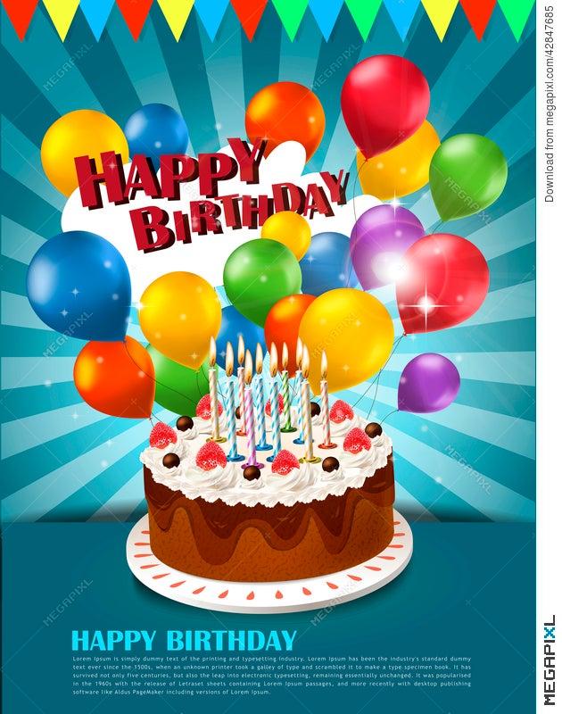 happy birthday poster illustration 42847685 megapixl