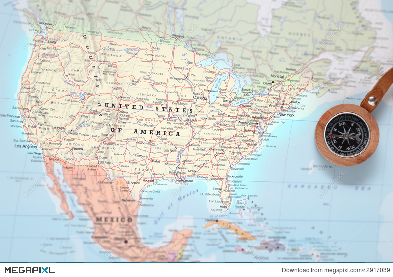 Travel Destination United States, Map With Compass Stock Photo ...