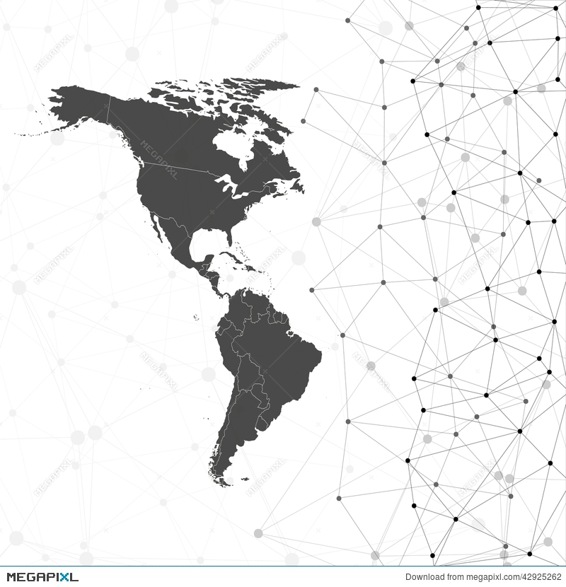 North And South America Map Vector, Illustration ...