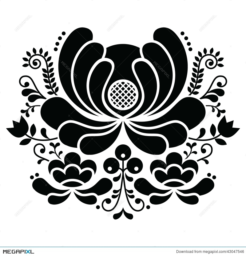 Norwegian Folk Art Black And White Pattern Rosemaling Style