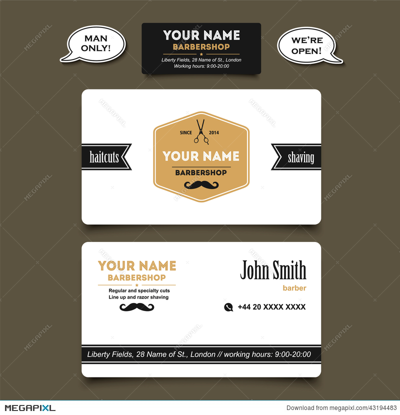 Hair Salon Barber Shop Business Card Design Template Illustration ...