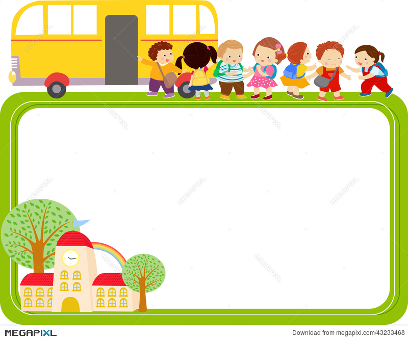 Cute Cartoon Kids And School Bus Frame Illustration 43233468 - Megapixl
