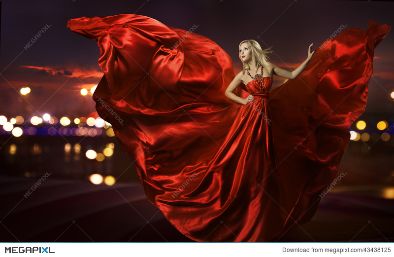 2ebc1adee28a Woman Dancing In Silk Dress, Artistic Red Blowing Stock Photo ...