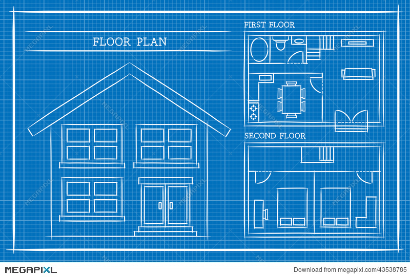 Blueprint house plan architecture illustration 43538785 megapixl blueprint house plan architecture malvernweather Image collections