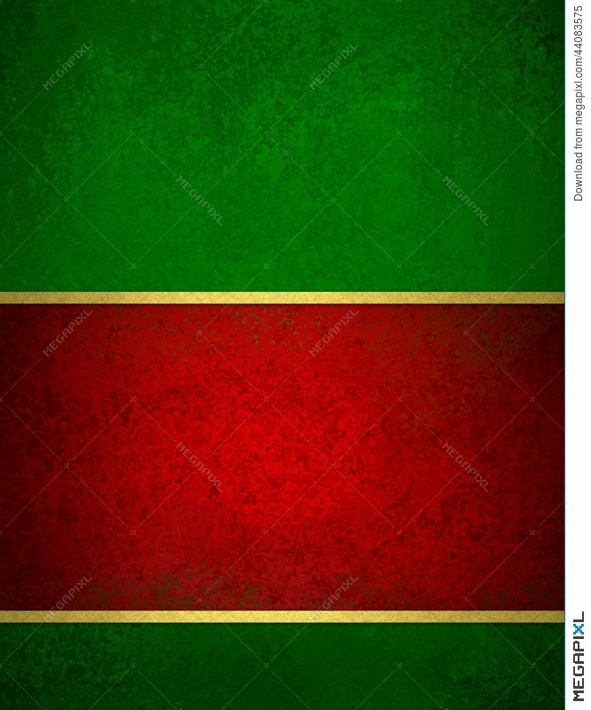 Christmas Green And Red.Green Red Christmas Background With Vintage Texture And Gold