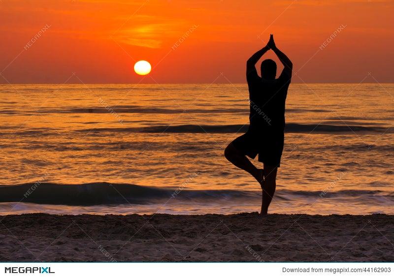 Sunrise Yoga Tree Pose Man Silhouette Meditation