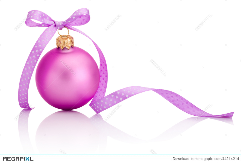 Pink Christmas Ball With Ribbon Bow Isolated On White Background ...